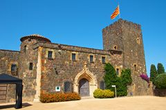 Catalonian castle. Little Catalonian castle in the botanical garden of Palafrugell, Spain Royalty Free Stock Photo