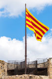 Catalonian flag. Blowing in the wind Royalty Free Stock Photos