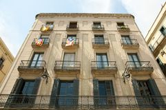 Catalonian Flags on Balconies - Barcelona. Catalonian Flags on Balconies in Barcelona Stock Photos