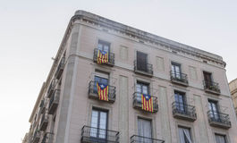 Catalonian Flags. Three catalonian flags on a house Stock Photo