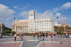 Catalonian fyrkant, Barcelona Fotografering för Bildbyråer