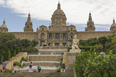 Catalonian national museum MNAC on Montjuic mountain in Barcelona Stock Image