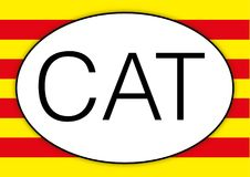 Catalunya oval international car plate symbol with flag. Vector file, illustration Royalty Free Stock Images