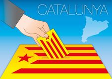 Catalunya starred flag with votr box, referendum. Catallonia starred flag with votr box, referendum, vector file, illustration Royalty Free Stock Image