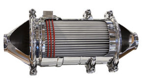 Catalytic converter and particle filter. Cross section of a catalytic converter and particle filter of a diesel engine Stock Photo