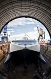 Catamarán en el muelle Imagen de archivo libre de regalías