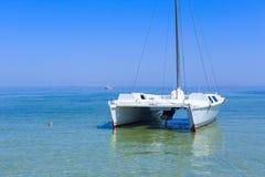 Catamarã na ilha Dzharylhach do mar Imagens de Stock Royalty Free