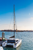 Catamarã (no porto) Foto de Stock Royalty Free