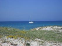Catamarã perto da praia em Córsega Foto de Stock Royalty Free