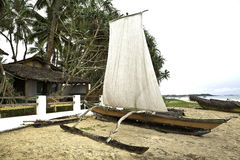 Catamaran à la plage de Hikkaduwa, Sri Lanka photographie stock libre de droits