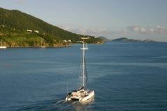 Catamaran. On coastline of Tortola Stock Photography