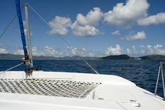 On a Catamaran. The view from a catamaran in the Caribbean royalty free stock image
