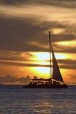 Catamaran. Tropical sundown photgraphed in Holetown, Barbados Stock Photo