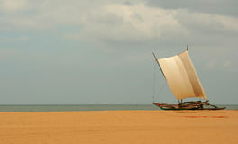 Catamaran. Fishermen's catamaran on the beach in Sri Lanka Stock Photo