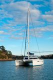Catamaran at anchor Royalty Free Stock Images