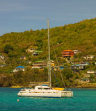 A catamaran anchored at ocar, bequia Royalty Free Stock Images