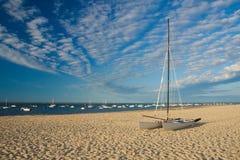 Catamaran on the beach. A little catamaran on the beach in Arcachon (France Stock Photo