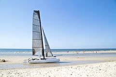 Catamaran at the beach in the Netherlands Stock Photo
