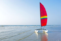 Catamaran at the beach in the Netherlands Royalty Free Stock Photos