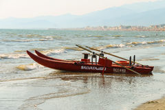 Catamaran on the beach in Viareggio, Italy Stock Photos