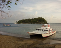 A catamaran beached in the caribbean Royalty Free Stock Images