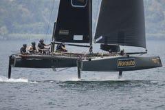 Catamaran bij het foiling van week 2016 op Garda-Meer Stock Afbeeldingen