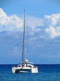 Catamaran in the blue ocean Royalty Free Stock Photos