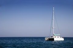 Catamaran boat in Greece Stock Photos