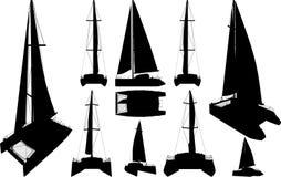 Catamaran Boat Silhouettes Vector. Catamaran Boat Silhouettes Isolated On White Vector Stock Photos