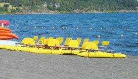 Catamaran boats on a lake shore Royalty Free Stock Photography