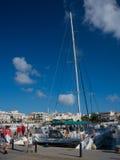 Catamaran in Cala Ratjada harbor Royalty Free Stock Photo