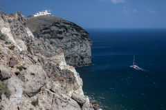 Catamaran from cliff at Akrotiri Royalty Free Stock Photo