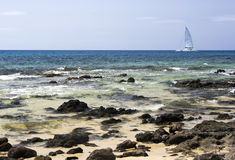 Catamaran at the coast of lanzarote Royalty Free Stock Photos