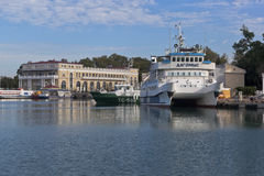 Catamaran Dagomys at the tenth quay Sochi seaport Royalty Free Stock Images