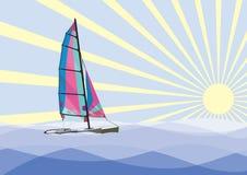Catamaran de navigation Images stock