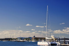 Catamaran Docked at Newport Marina Stock Photography