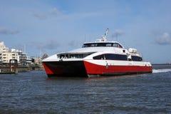 Catamaran fast ferry. A fast cat catamaran ferry Stock Photo