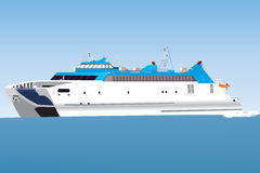 Catamaran Ferry. A Blue and White Catamaran Car Ferry travelling at speed Stock Images
