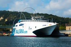 Catamaran ferry at Port.  Barcelona Stock Image