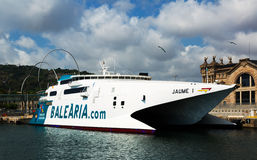 Catamaran ferry at Port Vell Stock Photo