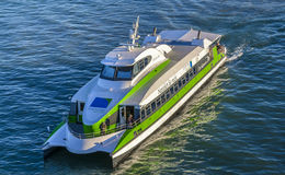 Catamaran Fridolin on BodenSee lake Royalty Free Stock Image