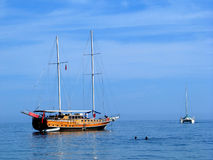 Catamaran and gulet stock images