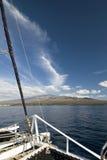 Catamaran, Haleakala Mountain in background.Maui, Hawaii Royalty Free Stock Photos