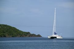 Catamaran on the Horizon stock photography