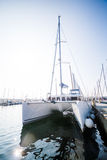 Catamaran in Jachthaven op Mooi Sunny Day royalty-vrije stock fotografie