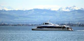 Catamaran on the Lake Constance. Near Friedrichshafen Stock Image