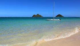 Catamaran on Lanikai beach Royalty Free Stock Images