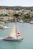 Catamaran Leaving Oranjestad, Aruba Habour Stock Photo