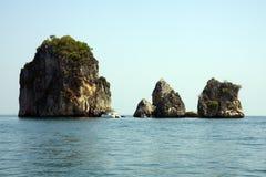 Catamaran and limestone outcrops, Krabi, Thailand Stock Image