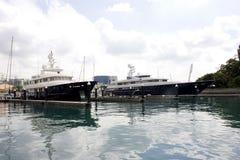 Catamaran at marina Stock Images
